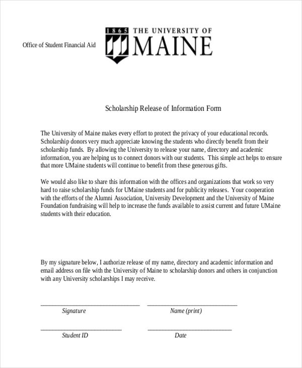 scholarship release of information form