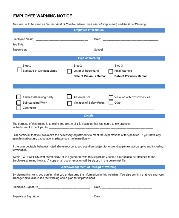 Warning Notice Template. Restaurant Employee Warning Notice Form 6