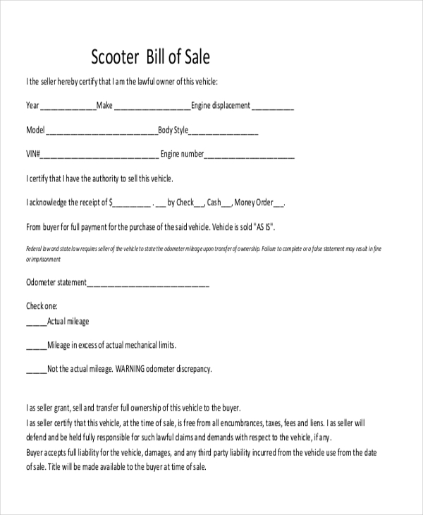 Sample Bill Of Sale Pdf   Free Documents In Pdf