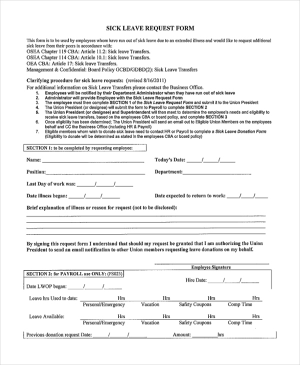 Absence Request Form Employee Absence Request Sample Request Forms