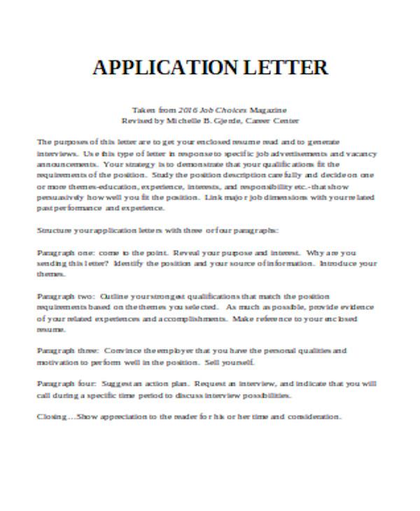 simple application letter