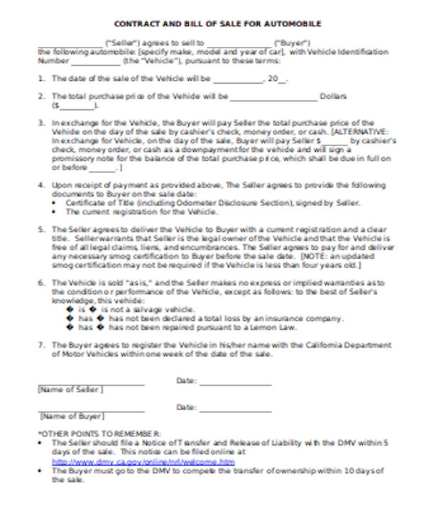 simple auto bill of sale form