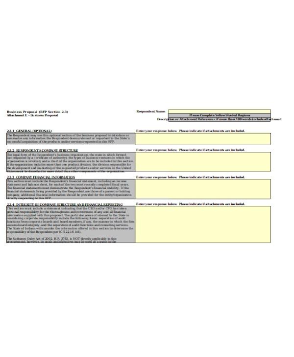 simple business proposal form