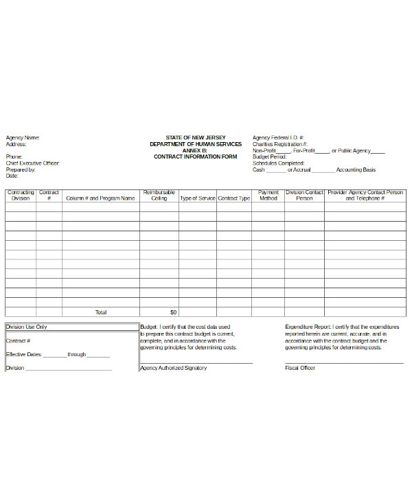 simple contract information form