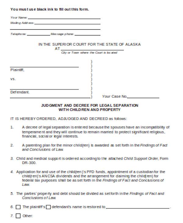 simple divorce form