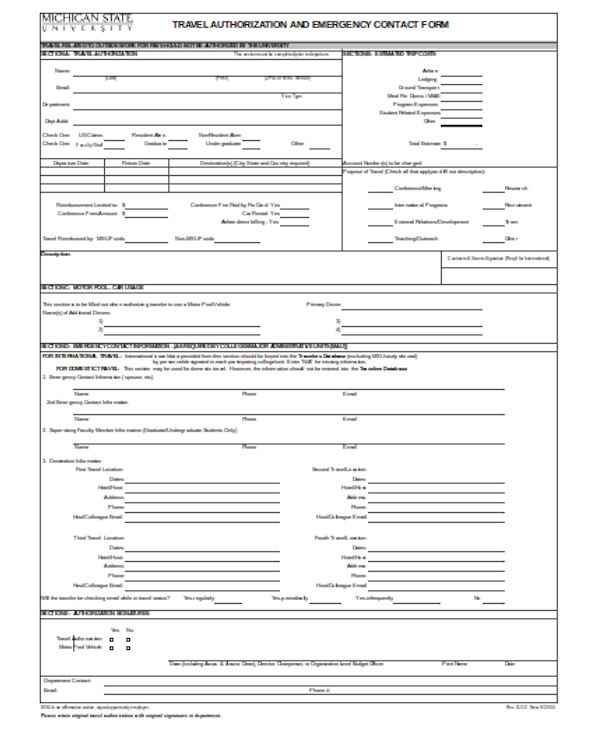 simple emergency contact form