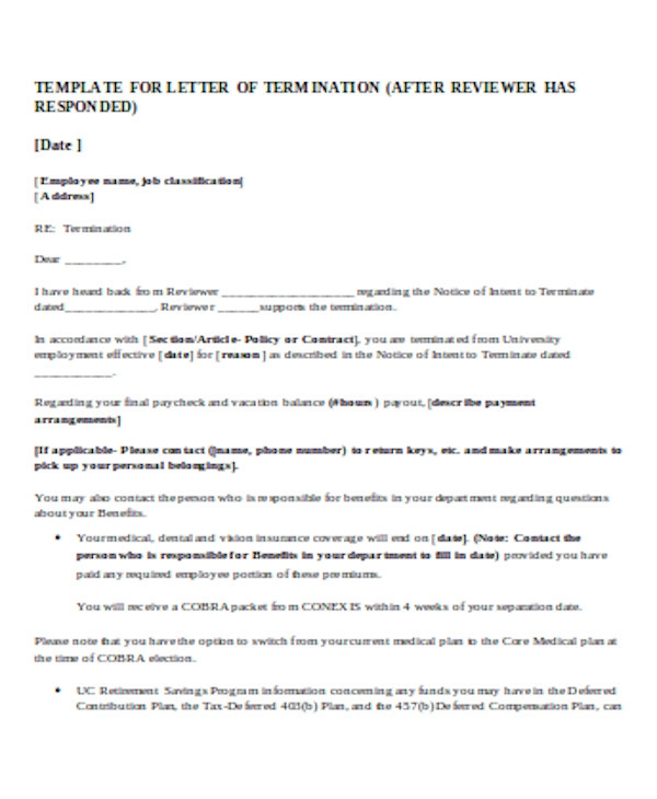 simple employee termination letter