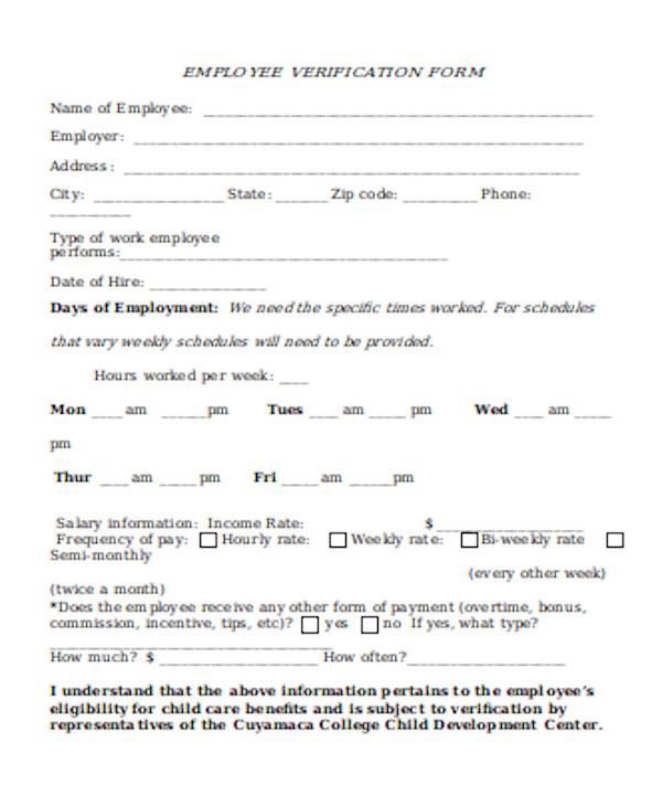 simple employer verification form