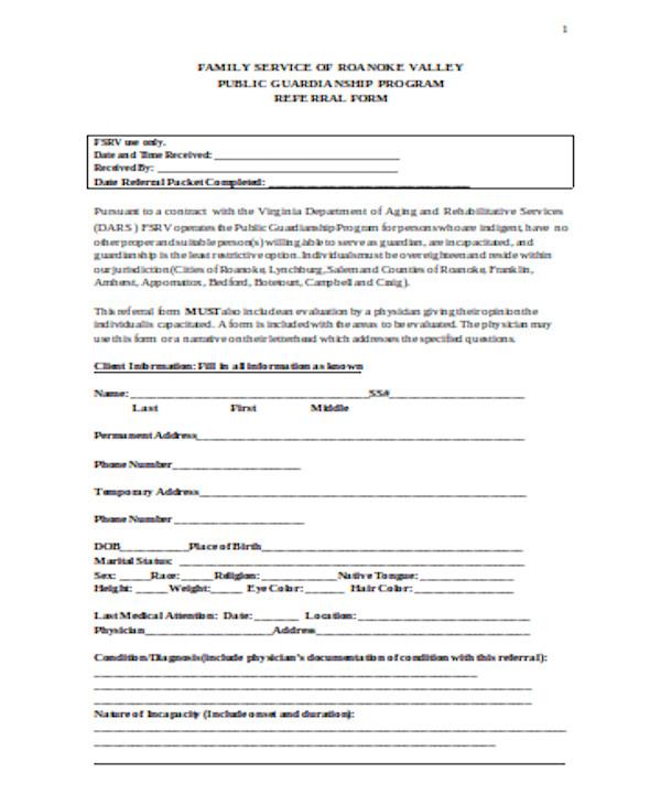 simple guardianship referral form