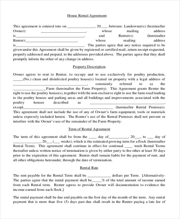 Rental Agreement. Printable Residential Lease Agreement Free Word ...