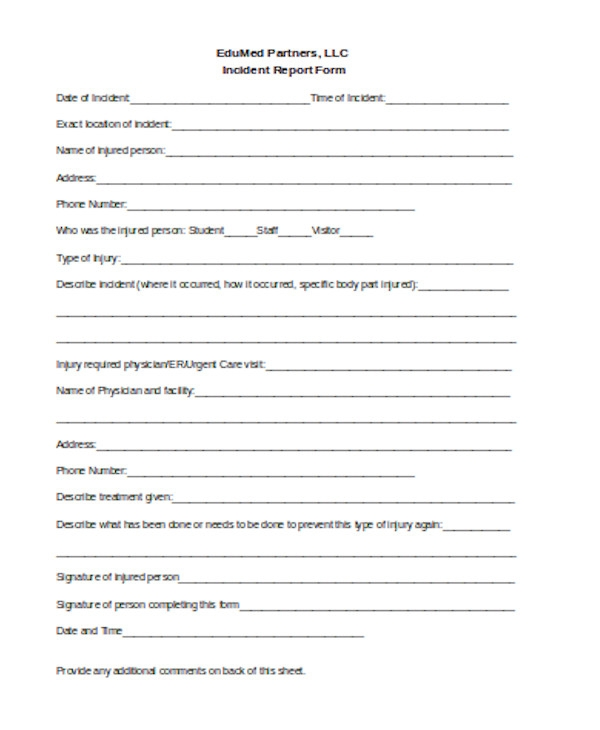 simple incident report form