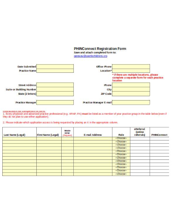 simple legal registration form