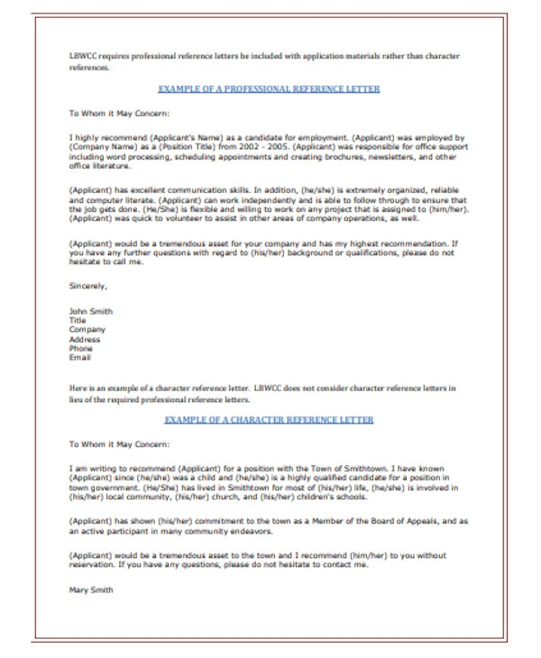 Employment Reference Letter Examples from images.sampleforms.com