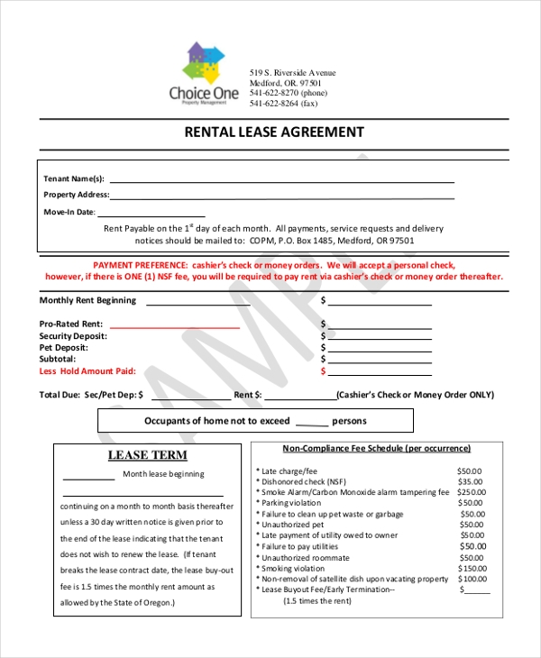 Simple rental agreement form 12 free documents in pdf simple rental lease agreement platinumwayz