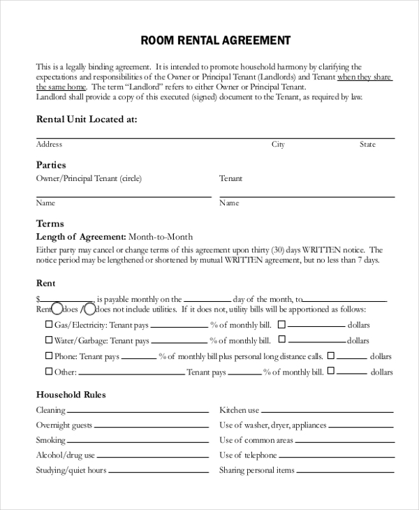 Free 12 Simple Rental Agreement Forms Pdf