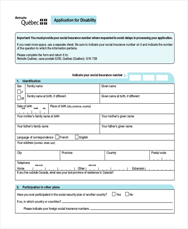 Sample Social Security Application Form - 8+ Free Documents In Pdf