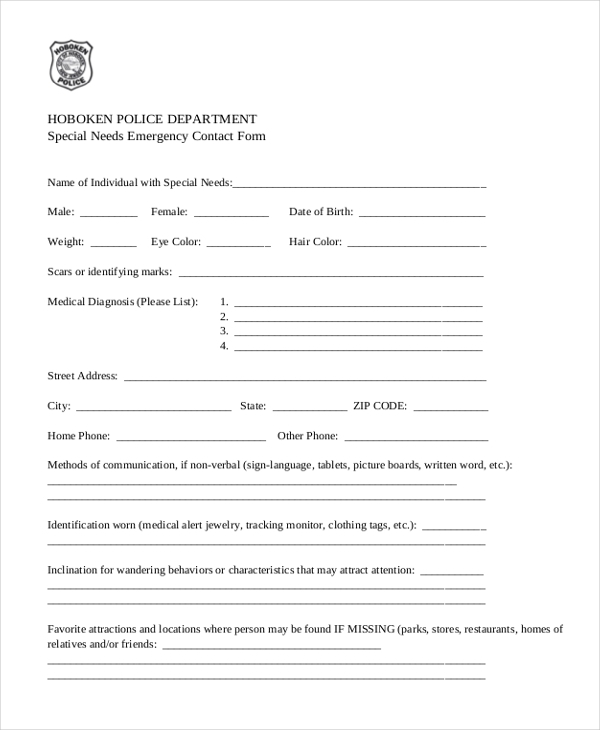 special needs emergency contact form