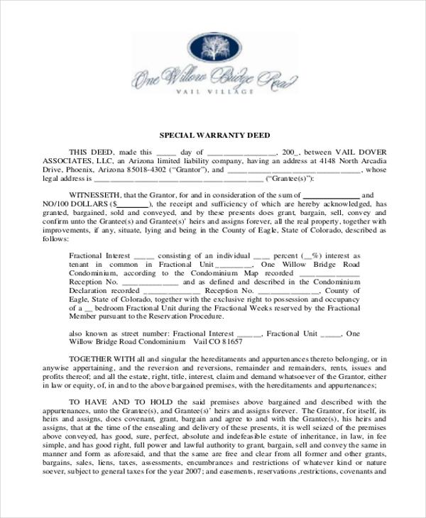sample general warranty deed forms sample forms - Sample Warranty Deed Form