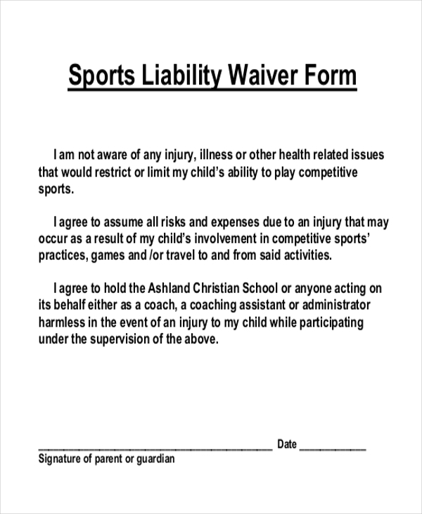 Sample Liability Waiver Form   Free Documents In Pdf