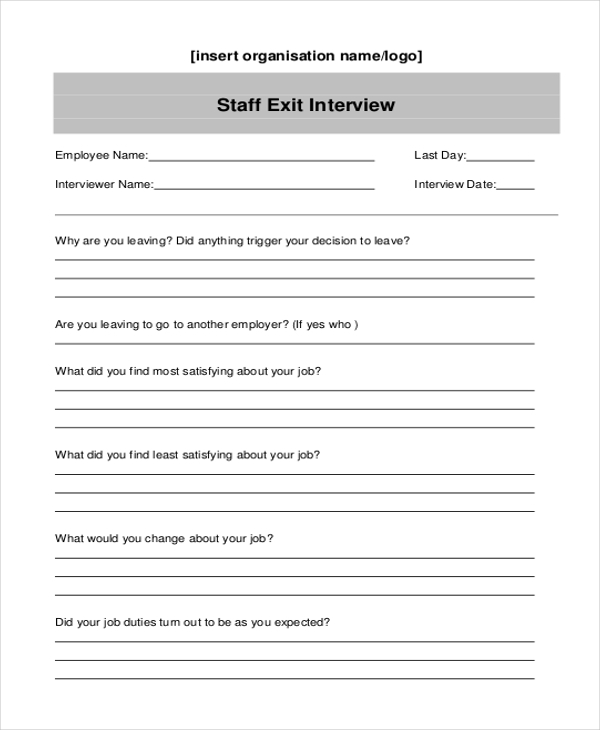 staff exit interview form
