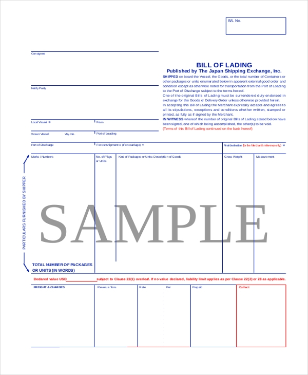 Standard Bill Of Lading Form