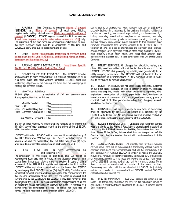 Sample Standard Lease Agreement Form   Free Documents In Pdf