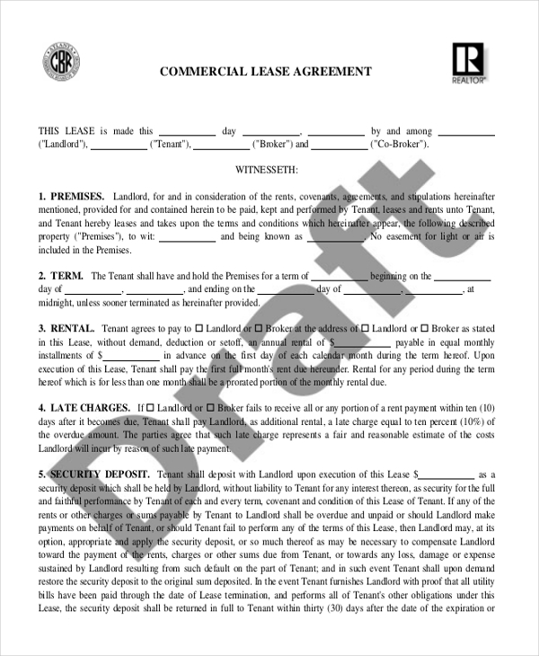 Sample Commercial Lease Agreement Form   Free Documents In Word