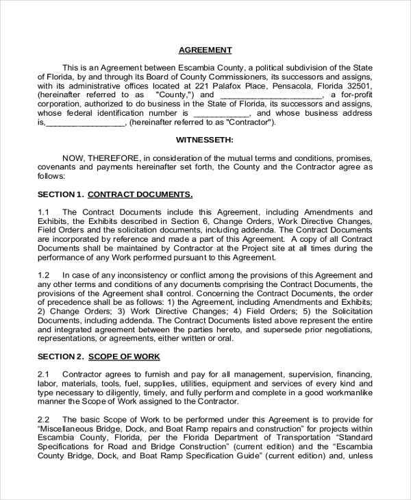 Contract Agreement Letter Letter Agreement Sample Letter – Simple Construction Contract Form