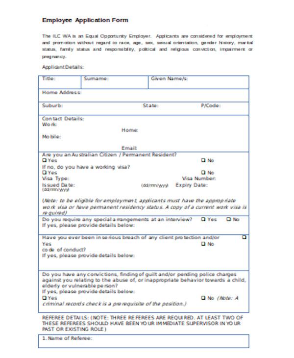 standard employee application form