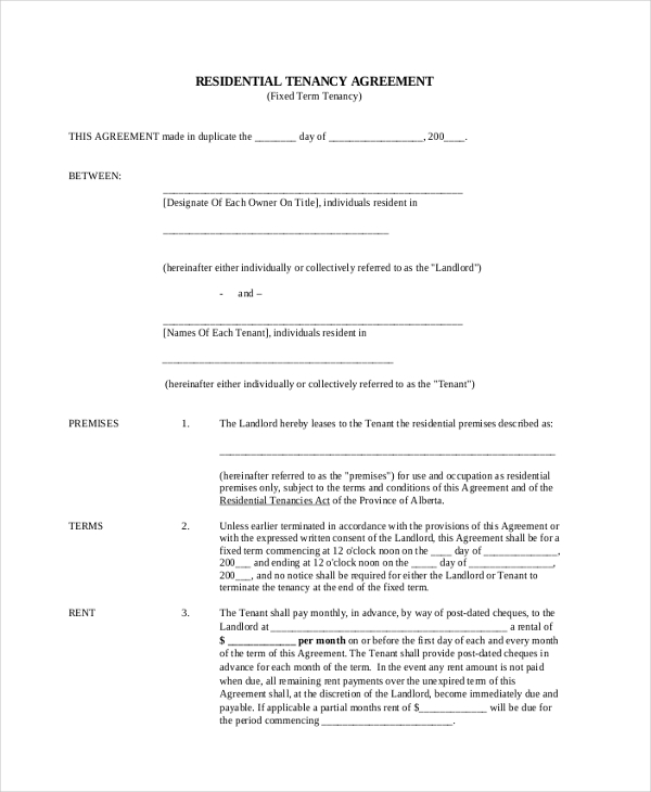 Sample Standard Lease Agreement Form 9 Free Documents In Pdf
