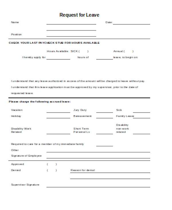 standard leave request form
