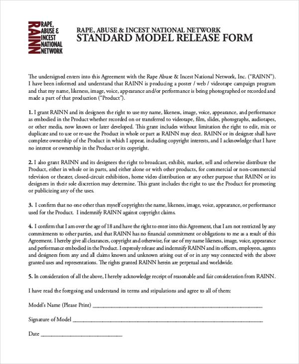 standard model release form