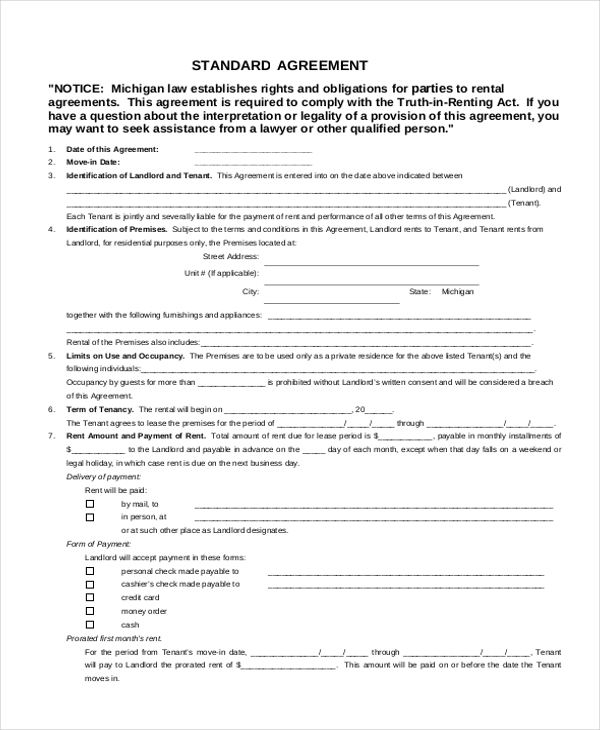 Standard Rental Agreement Form Standard Rental Agreement