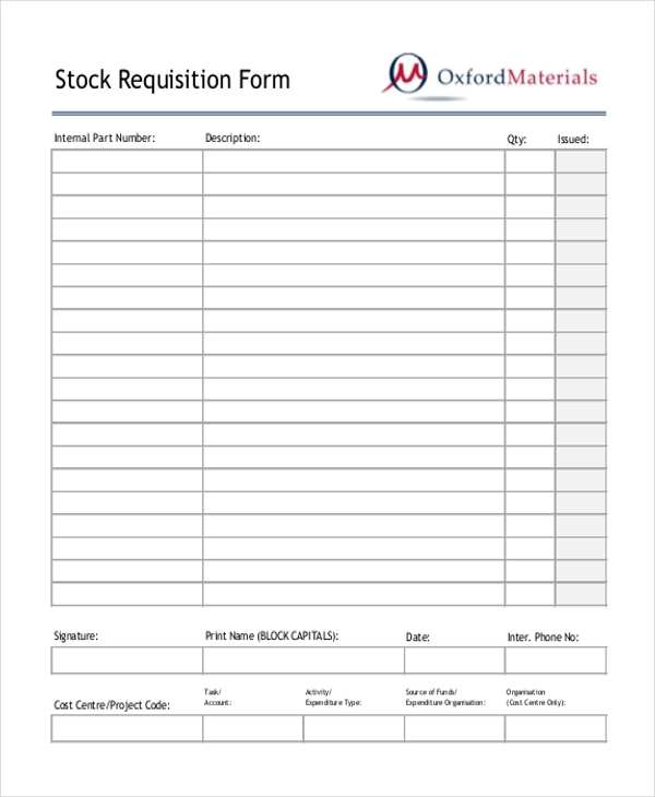 stock requisition form