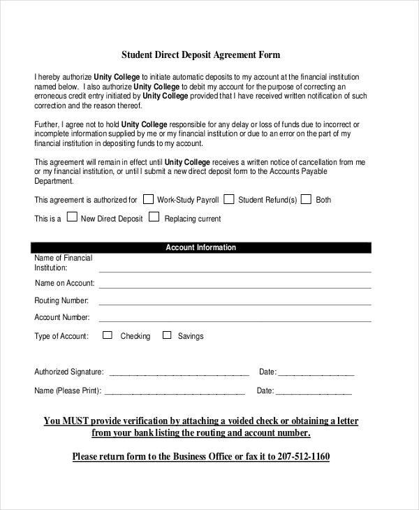 student deposit agreement form