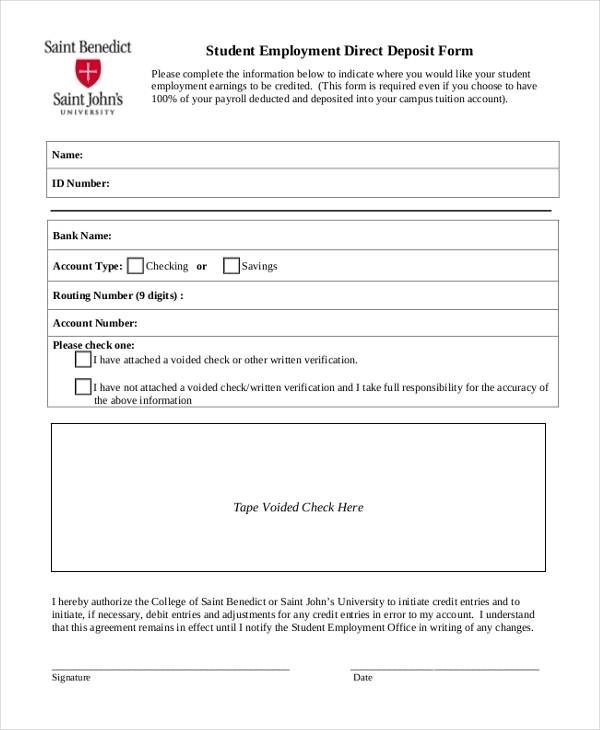 student employment direct deposit form
