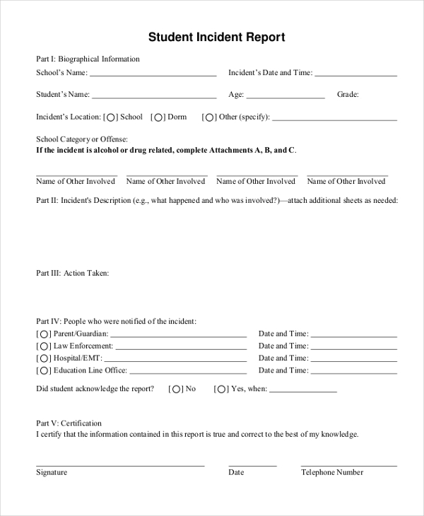 Sample Incident Report Form - 11+ Free Documents In Pdf