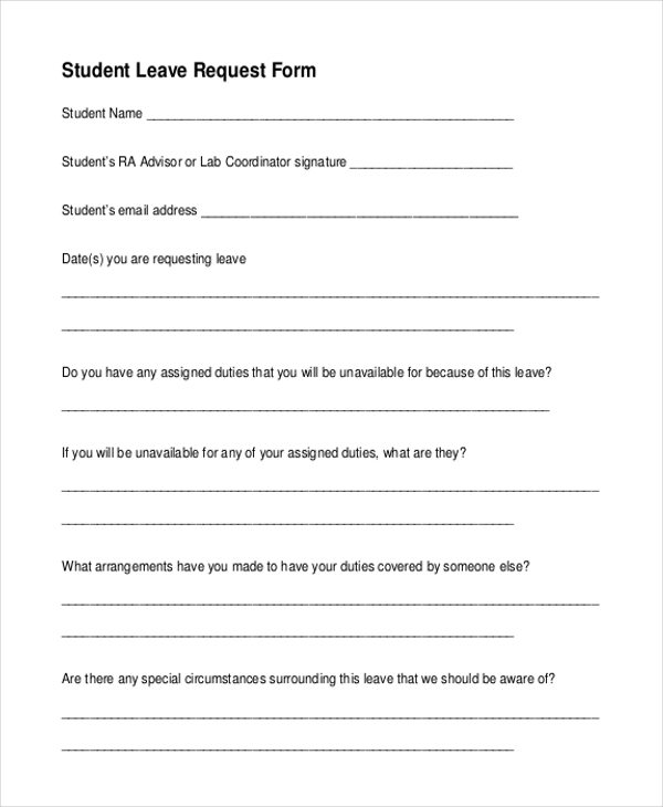 student leave request form
