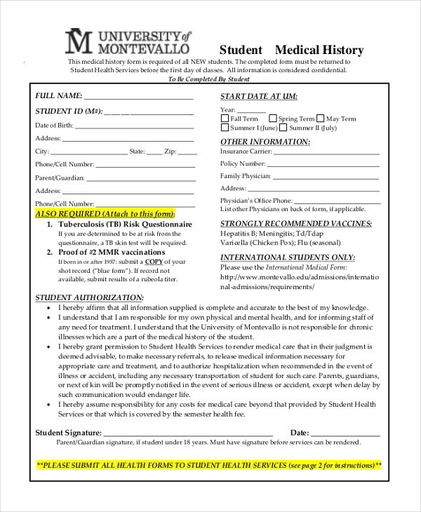 Sample Medical History Form   Free Documents In Doc Pdf