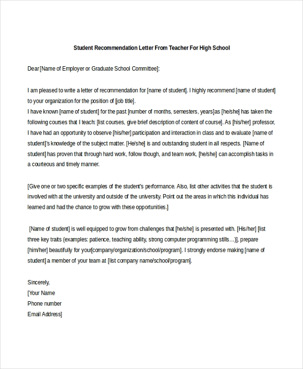 student recommendation letter from teacher for high school