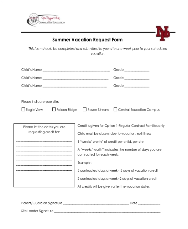 summer vacation request form