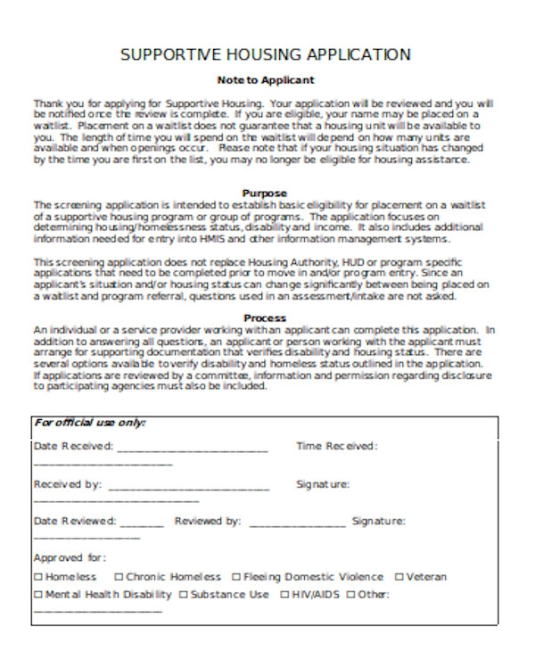 supportive housing application form