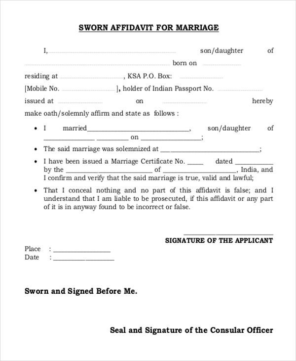Sample Affidavit Form For Marriage   Free Documents In Word Pdf