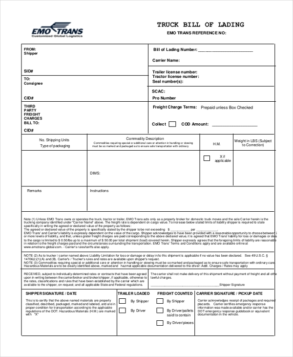 truck bill of lading