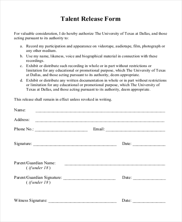 Sample Release Form - 11+ Free Documents In Doc, Pdf