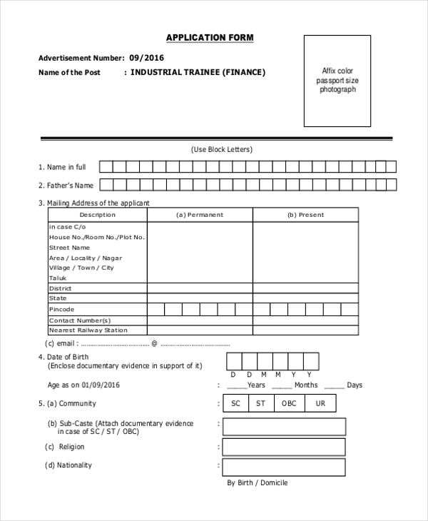 Sample Target Application Form   Free Documents In Doc Pdf