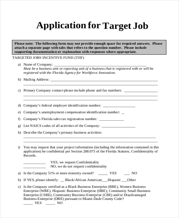 free 9  sample target application forms in pdf