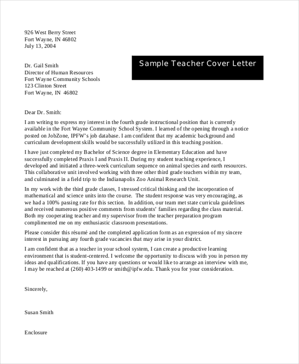Teacher-Application-Cover-Letter Job Application Format Form on