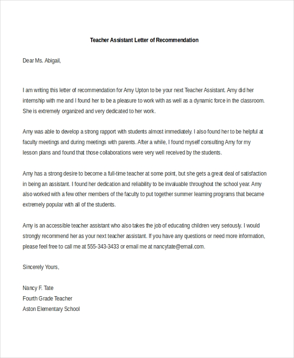 Teacher Assistant Letter Of Recommendation  Free Letter Of Recommendation