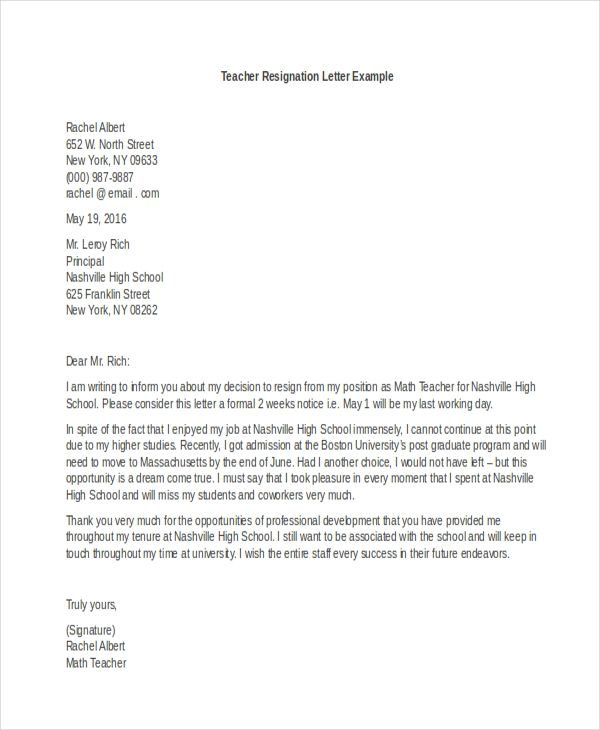 Sample Letter Of Resignation Teacher.Free 9 Sample Letter Of Resignation Example
